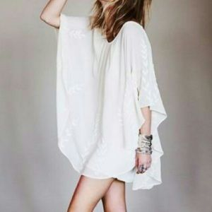 Free People RARE Embroidered Ivory Tunic Dress